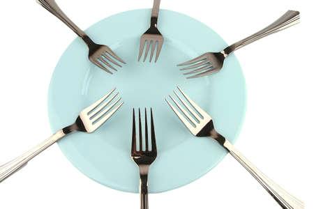 six forks on blue dish photo