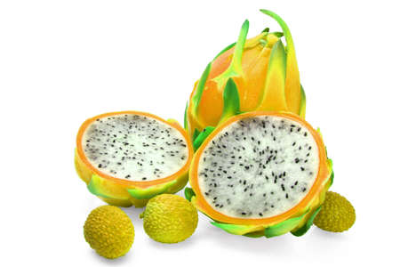 dragon fruit and two half with litchi Stock Photo - 4949831