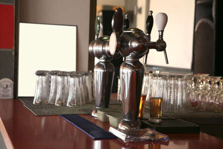 bar with glasses and beer photo