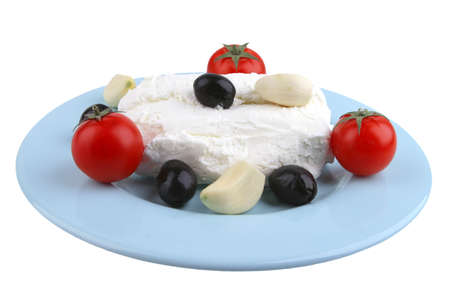 white cottage cheese with olives and cherry front view photo