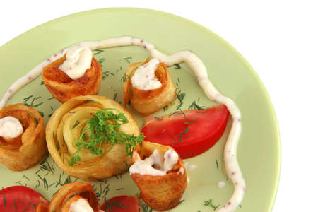 sloce up of fried potatos with vegetables photo