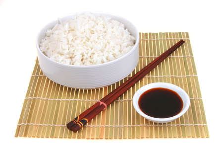 white persian rice on decorative carpet with soy Stock Photo - 4968408