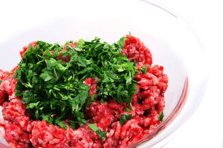 fresh uncooked mince meat prepared for cooking photo