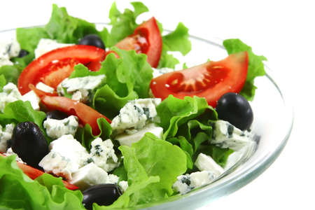 epicurean: vegetable salad and danish blue cheese over white