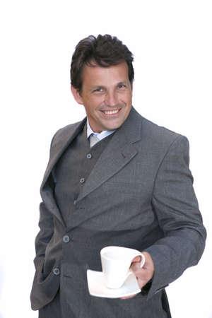 businessman invite to coffee over white background photo