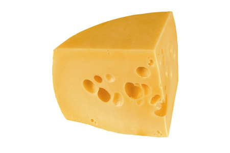 big chunk of yellow cheese over white photo