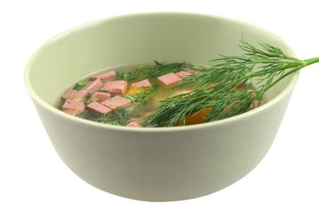 broken raw eggs with sausage and fennel inside bowl photo