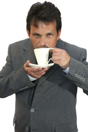 businessman invite to coffee over white background photo