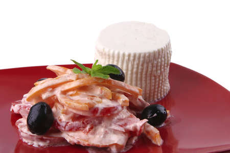 soft cheese and tomato salad with sour cream photo