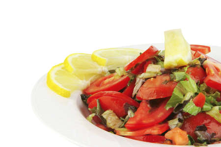 epicurean: served vegetable tomato salad over white background