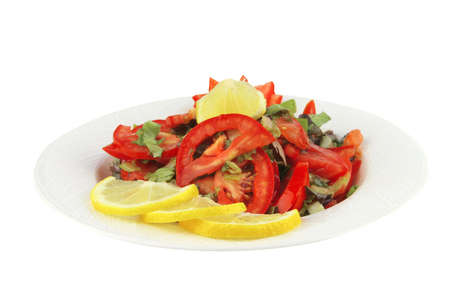 epicurean: served vegetable tomato salad over white background