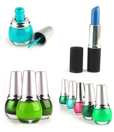 lipstick and nail polish kits on white background photo