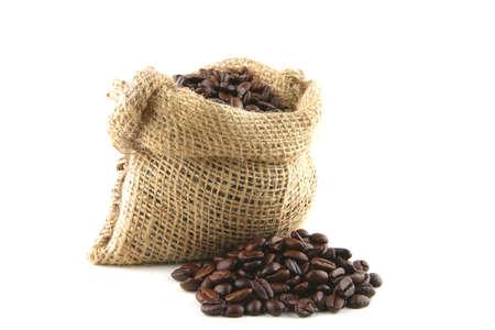 coffee bag full of beans over white background Stock fotó