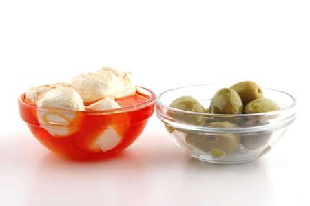 mozzarella cheese spiced served over white background photo