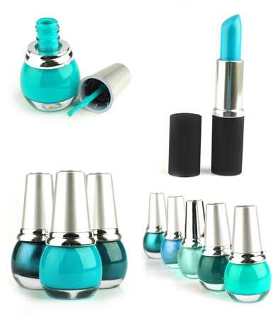 lipstick with nailpolish isolated on white background