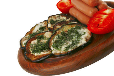 sausages served on plate with grilled eggplant photo