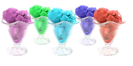 color ice cream cones over white background Stock Photo - 5461564