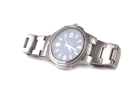 single male silver watches over white background photo