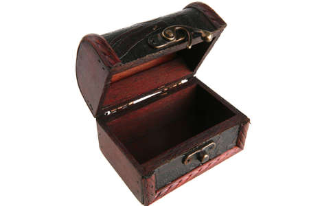 stash: single open wooden chest with metal ornament
