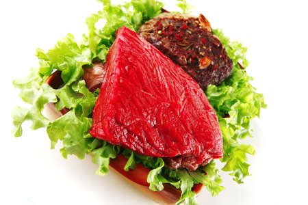 raw gold: roast and raw beef on gold ceramic bowl