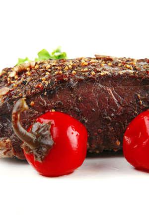 Brocken: gebratenes Fleisch Chunk over White mit Gem�se Lizenzfreie Bilder