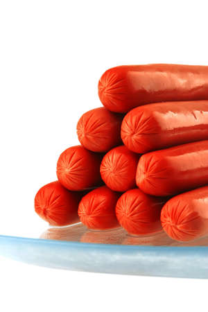 red fresh beef lean sausage on white Stock Photo - 6108628