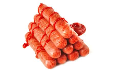 served grilled beef red sausages over white photo