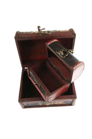 stash: two open wooden chests with metal ornament Stock Photo