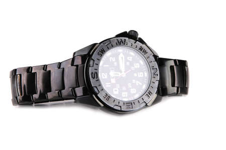 single male black watches over white background photo