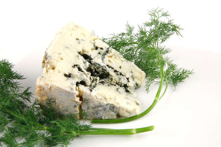 veined: soft moldy blue cheese on white cheese
