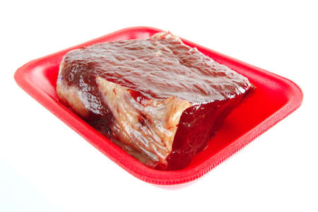 fresh raw beef meat on red tray Stock Photo - 6764821