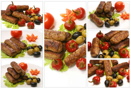 roast lamb kebab with small red peppers photo