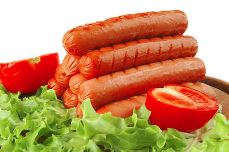 grilled beef red sausages on wooden plate Stock Photo - 6873511