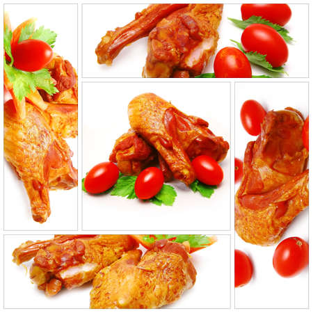 chicken wings served with tomatoe over white background photo