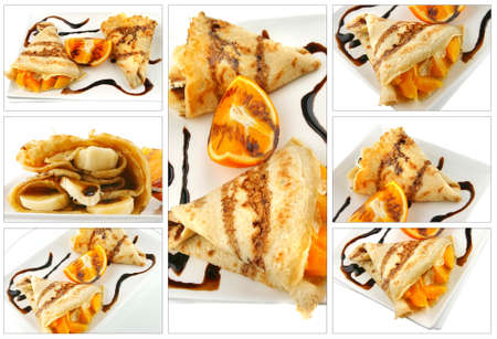 fresh pancake with orange and banana on white photo