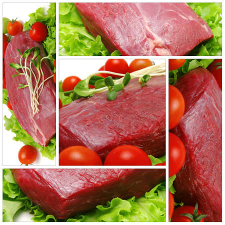 raw beef chunk with tomatoes on white