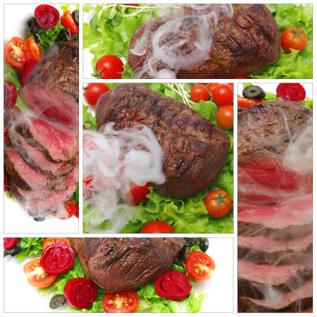 served: beef meat served with tomatoes on white Stock Photo