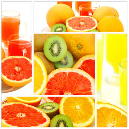 fresh raw tropical fruits collection with juice photo