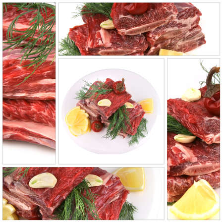 raw ham: raw ribs served with greenery on white plate Stock Photo