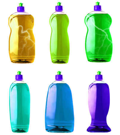 colored isolated soap bottle over white background photo