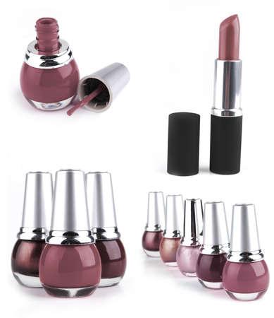 lipstick with nailpolish isolated on white background photo