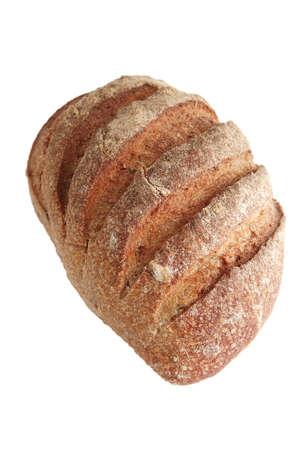 fresh full french bread on white background