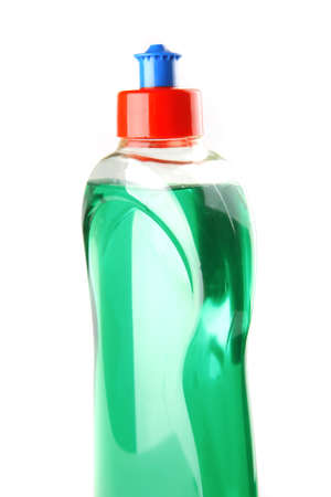 color bottle of clean soap isolated on white photo