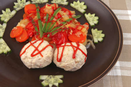 meatballs served with garnish on textil close photo