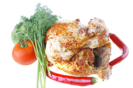 fat spiced grilled chicken with raw vegetables photo