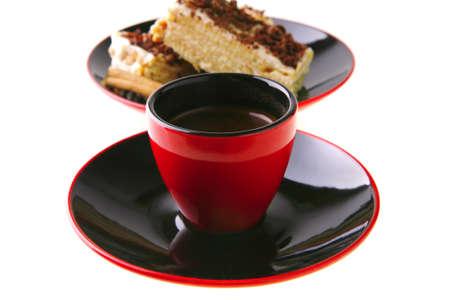 dark chocolate cake with black french coffee photo