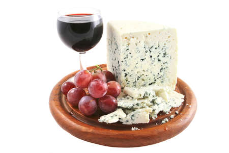 roquefort cheese and wine glass with grapes Stock Photo - 7114274