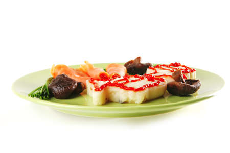 red salmon with mash served on green ceramic  photo