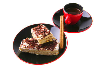 french roast coffee in red glass with chocolate cake photo