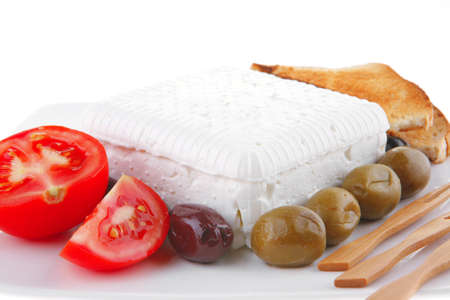 feta and olives with toast and tomatoes Stock Photo - 7182282